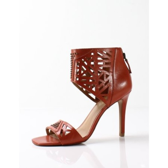 Nine West Orange Women Karabee Leather Sandal Heel